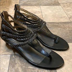 Lucky Brand Black Braided Leather Gladiator Sandal